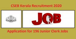CSEB Kerala Recruitment 2020 - Application for 196 Junior Clerk Jobs