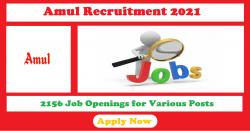 Amul Recruitment 2021 | 2156 Job Openings for Various Posts