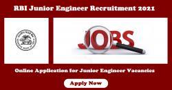 RBI Junior Engineer Recruitment 2021 Online Application for Junior Engineer Vacancies