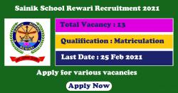 Sainik School Rewari Jobs 2021 Applications ongoing for Various Vacancies