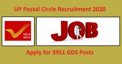 UP Postal Circle Recruitment 2020, Apply for 3951 GDS Posts
