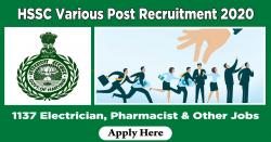 HSSC Various Post Recruitment 2020 - Apply 1137 Electrician, Pharmacist & Other Jobs