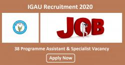 IGAU Recruitment 2020 | 38 Programme Assistant & Specialist Vacancy