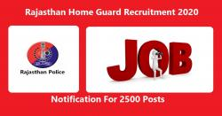Rajasthan Home Guard Recruitment 2020 Notification For 2500 Posts