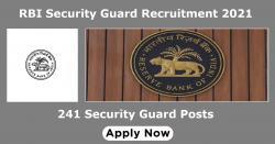 RBI Security Guard Recruitment 2021 | 241 Security Guard Posts