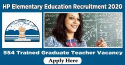 HP Elementary Education Recruitment 2020 | 554 Trained Graduate Teacher Vacancy