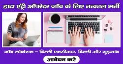 डाटा एंट्री ऑपरेटर जॉब के लिए तत्काल भर्ती, जॉब लोकेशन - दिल्ली एनसीआर, दिल्ली और गुड़गांव
